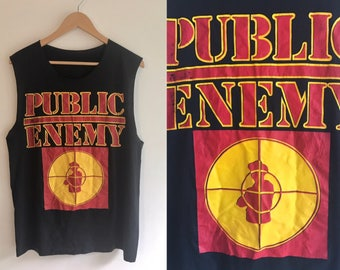 Vintage 80s Public Enemy Tshirt Rare Early Hip Hop Tee Target Logo Iconic 90s Rap Group Chuck D Flavor Flav East Coast Political Rhymes