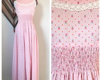 Vintage Pink Ladybug Maxi Dress. Vintage Pink Cotton Maxi Dress. 1970's Cotton Maxi Dress. Ladybug and Daisy Print Subdress.