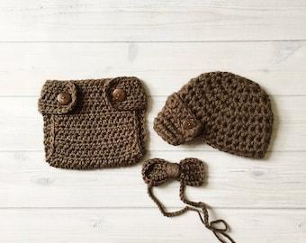Newborn / 0-3M Baby Boy Photo Prop Handmade Crochet Diaper Cover, Crochet Diaper Cover,Hat and Bow Tie Set * Taupe