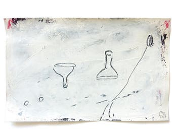"""game figures, mixed media on paper,  5.3"""" x 8.5"""", Contemporary Minimalistic Abstract Figures Drawing, black, white"""