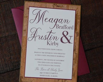 Wine Wedding Invitation - Burgundy Wedding Invitation - Modern Wedding Invitation - Red Wedding Invitation - Cork Wedding Invitation