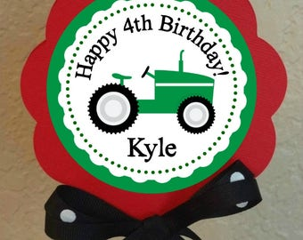 """PERSONALIZED Tractor Theme 5"""" Round Centerpiece DIY Printable File Tractor Birthday or Shower"""