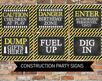 INSTANT Construction Signs Party Door Wall Signs Dump Truck Big Rig Theme Printable Party Decor