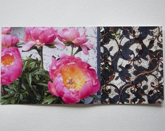 "card printed long ""nature"" Peony and iron on cotton paper fine art"