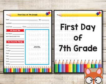 First Day of 7th Grade - Instant Download - First Day of 7th Grade Questionnaire - Back to School Sign - School Questionnaire - 7th Grade