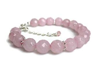 Rose Quartz bracelet, gemstone bracelet, mothers gift, best friend gift, jewellery uk