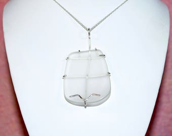 """Large Free Form White Sea Glass in a Sterling Silver Wire Cage Setting. 16"""" Sterling Silver Chain & Gift Packaging Included."""