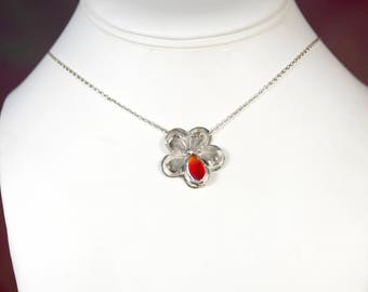 """Fire Tone Sea Glass Petal set in Sterling Silver Flower  by The Glassy Lass. Includes 18"""" Sterling Silver Necklace Chain and Gift Packaging."""