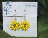 Sunflowers earrings - Czech glass beads handwoven with Swarovski pearls - J1850