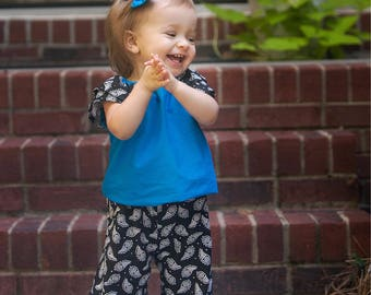 Birthday Outfit, Black and Blue, Baby Girl Outfit, Ruffle Pants, Flutter Sleeves, Custom Outfit, Little Girl Fall Clothes, Toddler Clothes