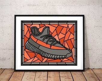 Yeezy, Yeezy Boost 350, Sneaker Art, Wall Decor, Yeezy Poster, Kids Room, Mancave, Dorm Room, Yeezy Sneaker Stained Glass Art, Wall Art