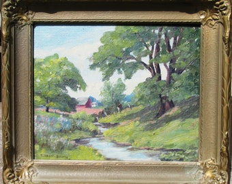 Vintage oil painting Landscape by Eleanor Smith.  Unknown artist