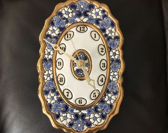 Cercolon enamel and 24K gold wall clock made in Spain RARE