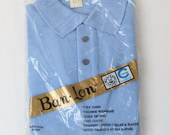 Vtg Ban-Lon by Garan 100% Nylon Hipster Blue Polo Shirt Sz Med - New Deadstock
