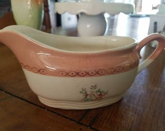 Beautiful Pink Floral Gravy Boat