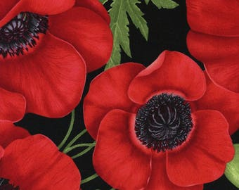 Poppies all over  Quilt Fabric Yardage - Cotton Fabric - Timeless Treasures