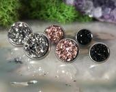Triple Pack Earrings | rainbow druzy earrings | galaxy earrings | crystal earrings | druzy studs | round earrings | geometric posts | faux