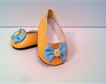 American Made to Fit like American Girl Doll.  Ballet Flats Embellished with Ribbons and Bows