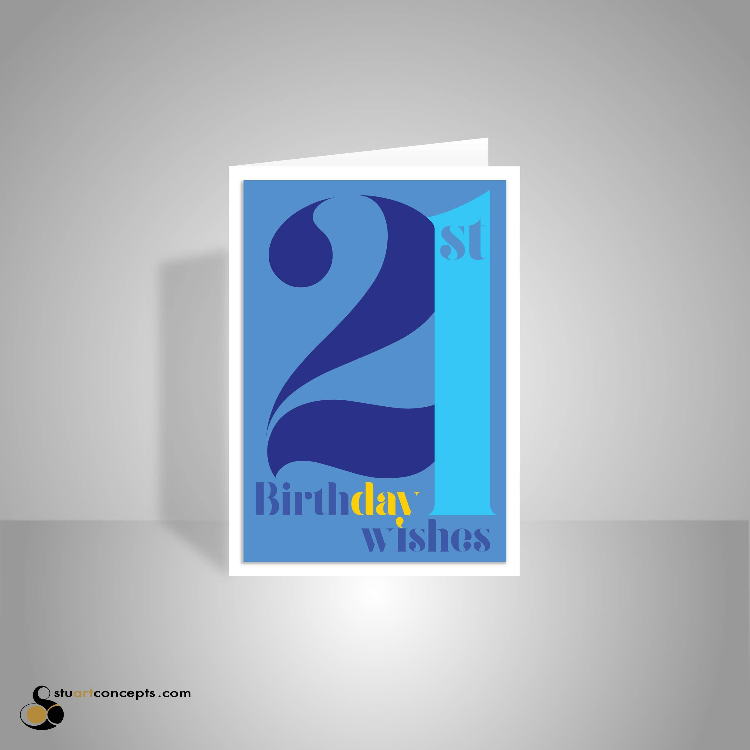 21st Birthday Wishes Card For Boy Or Man 21 Happy Birthday