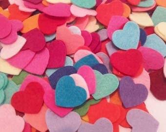 Small Felt Hearts, Die Cut Hearts, Heart Embellishments, Rainbow Hearts