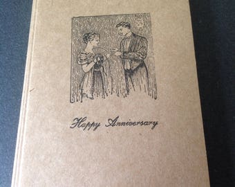 Victorian-themed Anniversary Cards with Envelopes - Set of 5 - Kraft Paper - A2 Size - Letterpress