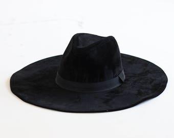 black wide brim fedora hat vintage 1990s