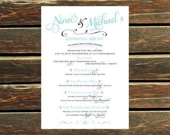 Printable Wedding Kissing Menu Digital File