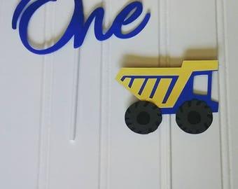 Construction Birthday Cake Topper Set, One Cake Topper Set, Blue Truck First Birthday Cake Topper, Blue Truck Cake Topper Set