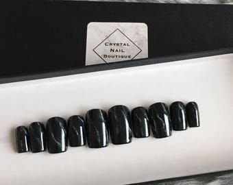 Black Marble press on nails • gel nails • false nails • fake nails • Coffin nails • Stiletto nails • Stick on nails • Acrylic nails
