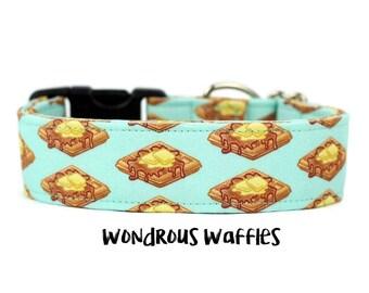 Food Dog Collar, Waffles Dog Collar, Trendy Dog Collar, Boy Dog Collar, Girl Dog Collar (Add Upgrade for Metal Buckle/Martingale)