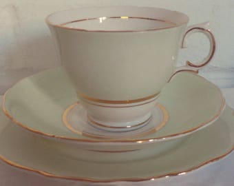 Stunning Vintage English Bone China Colclough Mint Green Tea Set Trio for One. Perfect for a Tea Party, afternoon tea