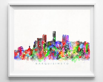 Barquisimeto Skyline Print, Venezuela Art, Barquisimeto Poster, Venezuela Cityscape, Watercolor Painting, Wall Decor, Mothers Day Gift
