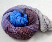 Foggy Valley - 100g 437yd 3ply  Sw Merino/Cashmere/Silk MCS Fingering Sock Weight Yarn - blue, purple, silver, lilac