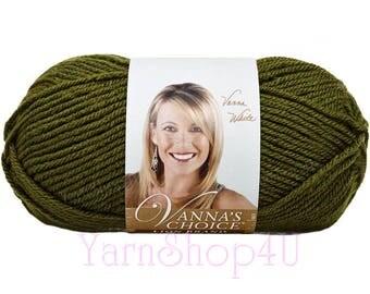 OLIVE Vanna's Choice Yarn by Lion Brand. This is a 100% Acrylic Medium 4 Worsted Weight Yarn. Dark Mossy Green 3.5oz / 170yds (100g / 156m)