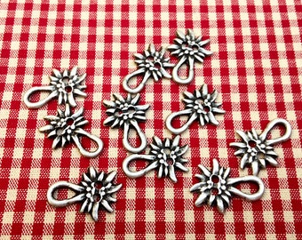 10 Dirndl hooks, Dirndl eyelets, metal, silver colored, Edelweiß, Dirndl, Bavarian girl's dress, Octoberfest, Bavarian tradition!
