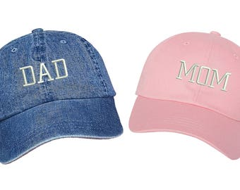 Dad Hats   DAD & MOM , Dad Hat , Embroidered , Expecting Parents , Baseball Cap , New Parents , Couples Hats , Gift For Mom , Gift For Dad