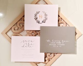 Save the Date Wreath Watercolor Semi-Custom Wedding Stationary