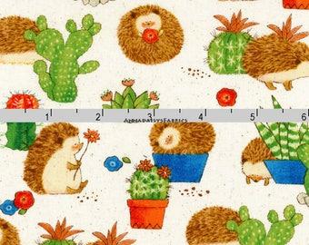 Hedgehog Fabric, Cactus Fabric, Cosmo Textile Co, Dreamers COSCR 8910 2A, Hedgehog Quilt Fabric, Cactus Quilt Fabric, Juvenile Cotton