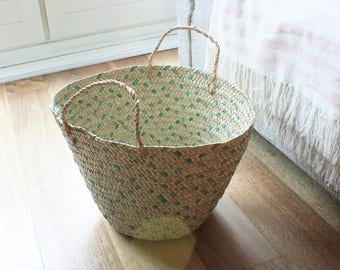 """Hand Braided Small African Straw Basket. Green with handles.Perfect Storage. 41x10.5"""" Ethically Made in West Africa."""