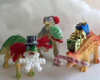 Dinosaur Christmas Ornaments, Set of 3, Qwazy Dinos, Dinosaur, Christmas, Ornaments, Dinosaur Ornaments, Planter, Home , Decor, Hostess Gift