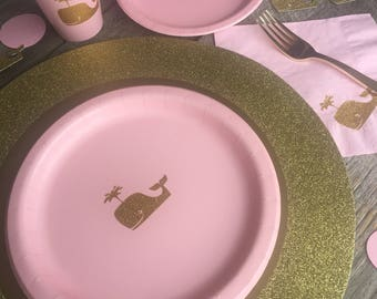 Whale Party, Whale Birthday, Whale Cups, Plates, Napkins, Pastel Pink Gold Glitter Whale, Whale Baby Shower, Pink and Gold Party