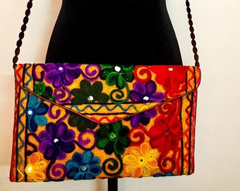 Women handmade handcrafted indian ethnic vintage floral mirror embroidered cotton crossbody bag, shoulder bag clutch