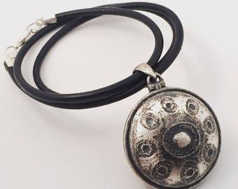 Handpan pendant necklace sterling silver vintage handmade