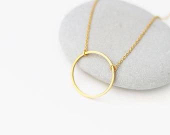 Circle pendant necklace, Karma necklace, Gold circle necklace, Eternity necklace