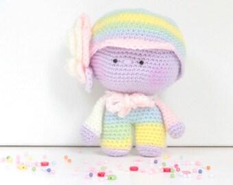 Amigurumi doll flower Rainbow crochet 15 cm