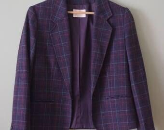 Vintage Purple Pendleton Plaid Wool Suit