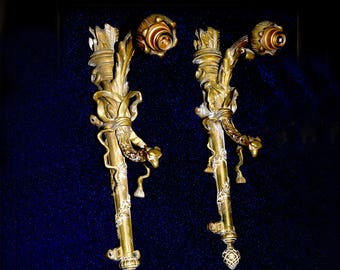 Pair of Very Unusual Rare French antique sconces in form of torch