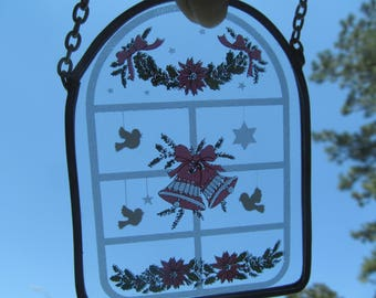 Sun Catcher - Window  - Wall Decoration- Christmas  Glass Window  with Bells and Garland