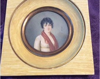Antique Portrait Miniature Women water color Painting on thin wafer Signed Sicardi