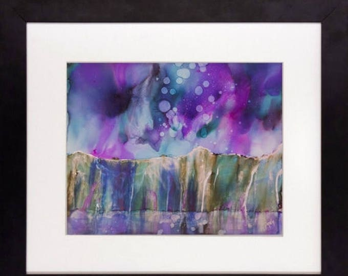 SALE Original Watercolor Painting-Northern Lights & Mountain Lake-Gift